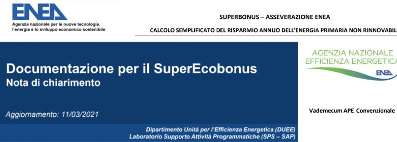 Superbonus 110 chiarimenti ENEA ape convenzionale