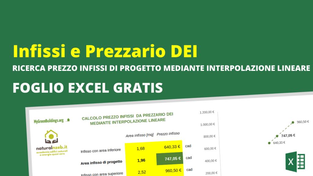 Foglio excel gratis interpolazione lineare prezzo infissi DEI