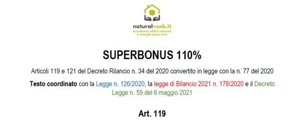 Superbonus 110 decreto rilancio coordinato dl 59-2021
